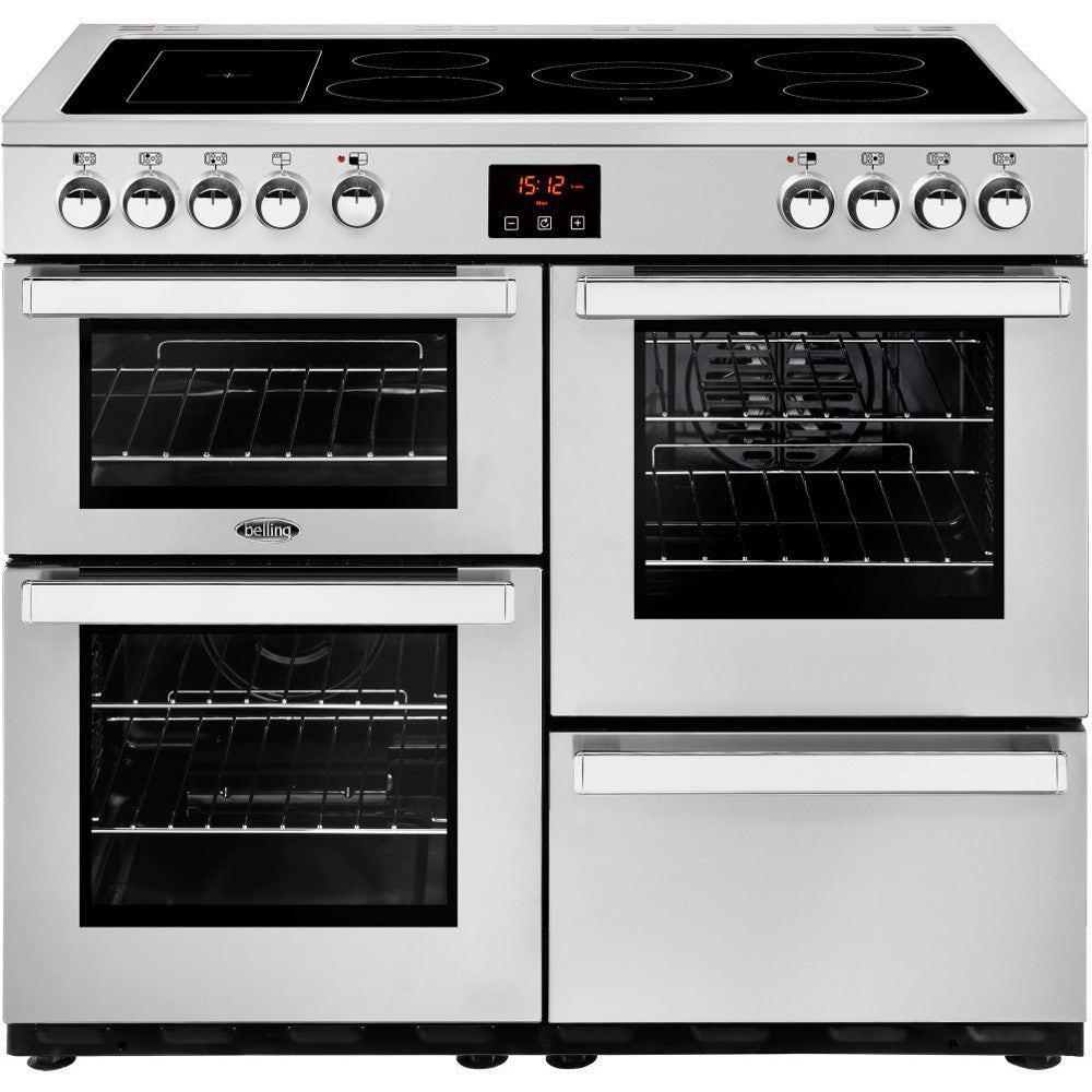 Belling Cookcentre 100E Professional Electric Ceramic Hob Range Cooker Stainless Steel - Moores Appliances Ltd.