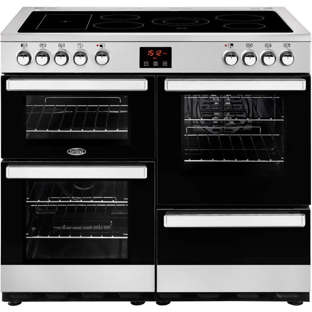 Belling Cookcentre 100E Electric Ceramic Hob Range Cooker Stainless Steel - Moores Appliances Ltd.