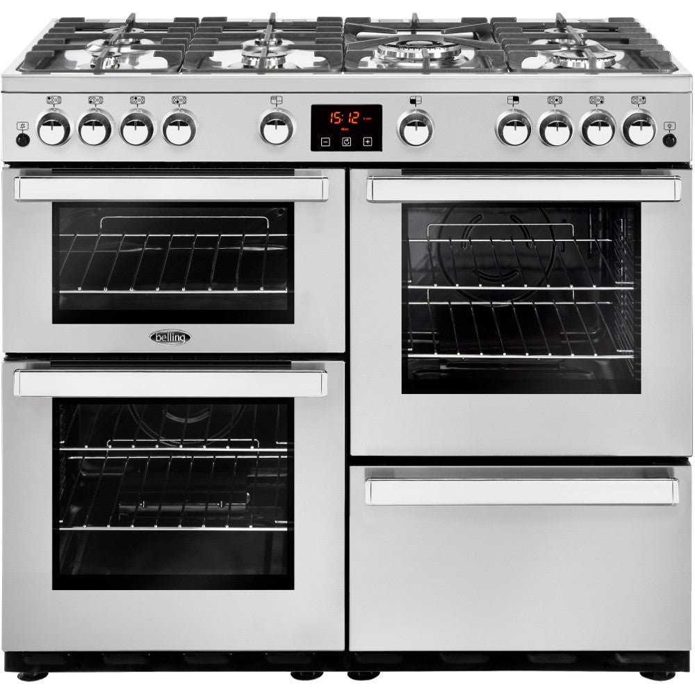Belling Cookcentre 100G Professional Natural Gas Range Cooker Stainless Steel - Moores Appliances Ltd.