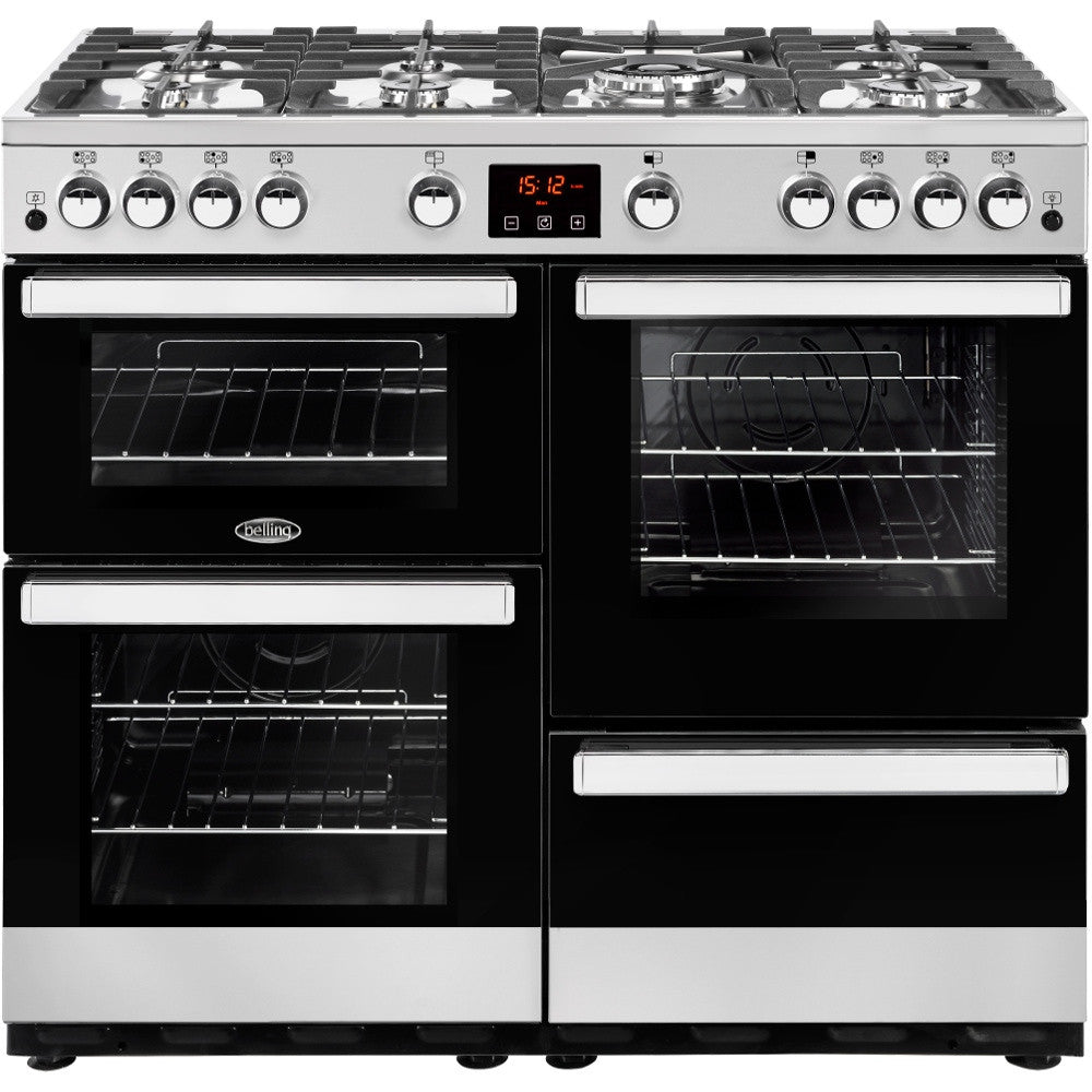 Belling Cookcentre 100G Natural Gas Range Cooker Stainless Steel - Moores Appliances Ltd.
