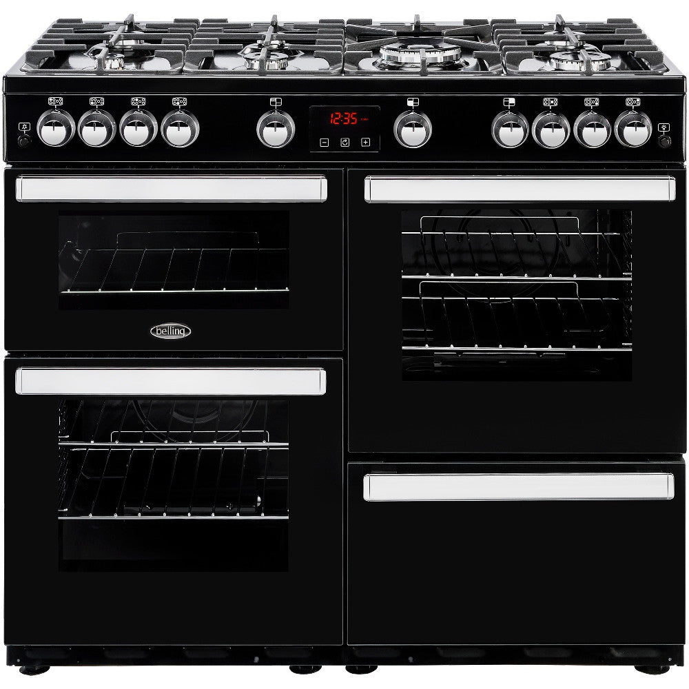 Belling Cookcentre 100G Natural Gas Range Cooker Black - Moores Appliances Ltd.