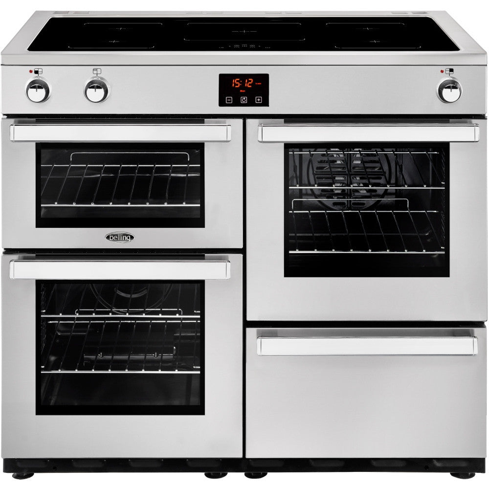 Belling Cookcentre 100Ei Professional Electric Induction Hob Range Cooker Stainless Steel - Moores Appliances Ltd.