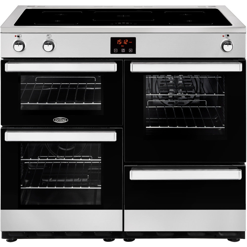Belling Cookcentre 100Ei Electric Induction Hob Range Cooker Stainless Steel - Moores Appliances Ltd.