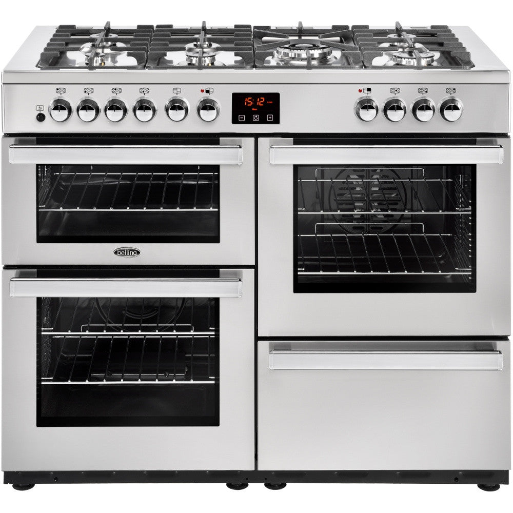 Belling Cookcentre 110DF Professional Dual Fuel Range Cooker Stainless Steel - Moores Appliances Ltd.
