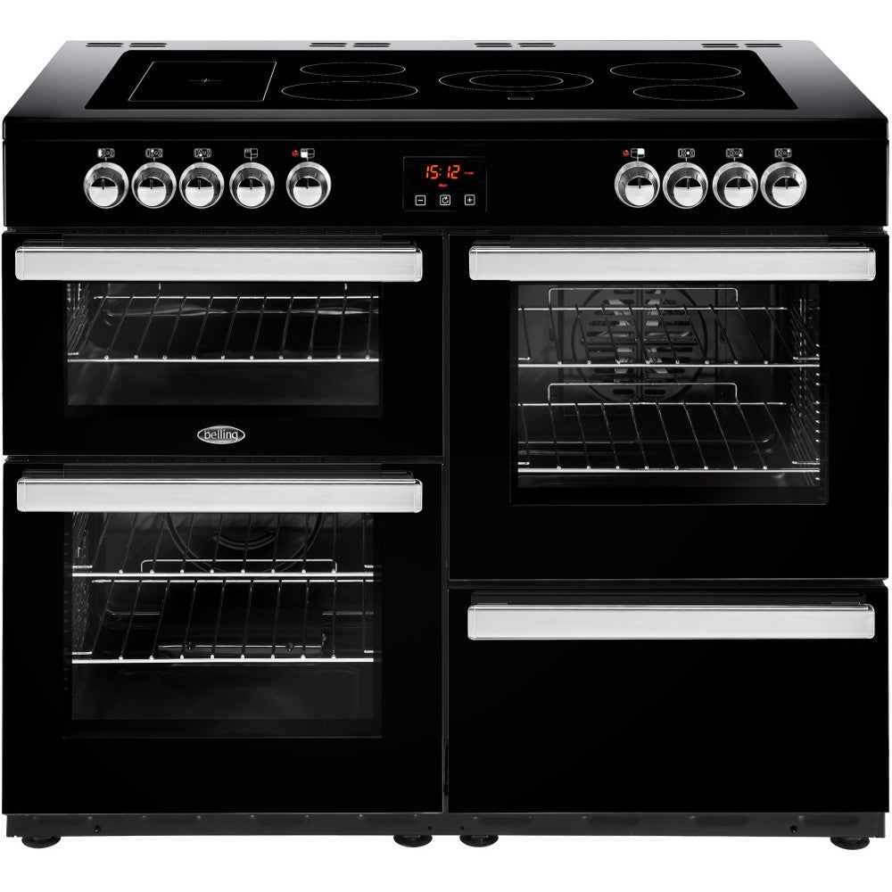 Belling Cookcentre 110E Electric Ceramic Hob Range Cooker Black - Moores Appliances Ltd.