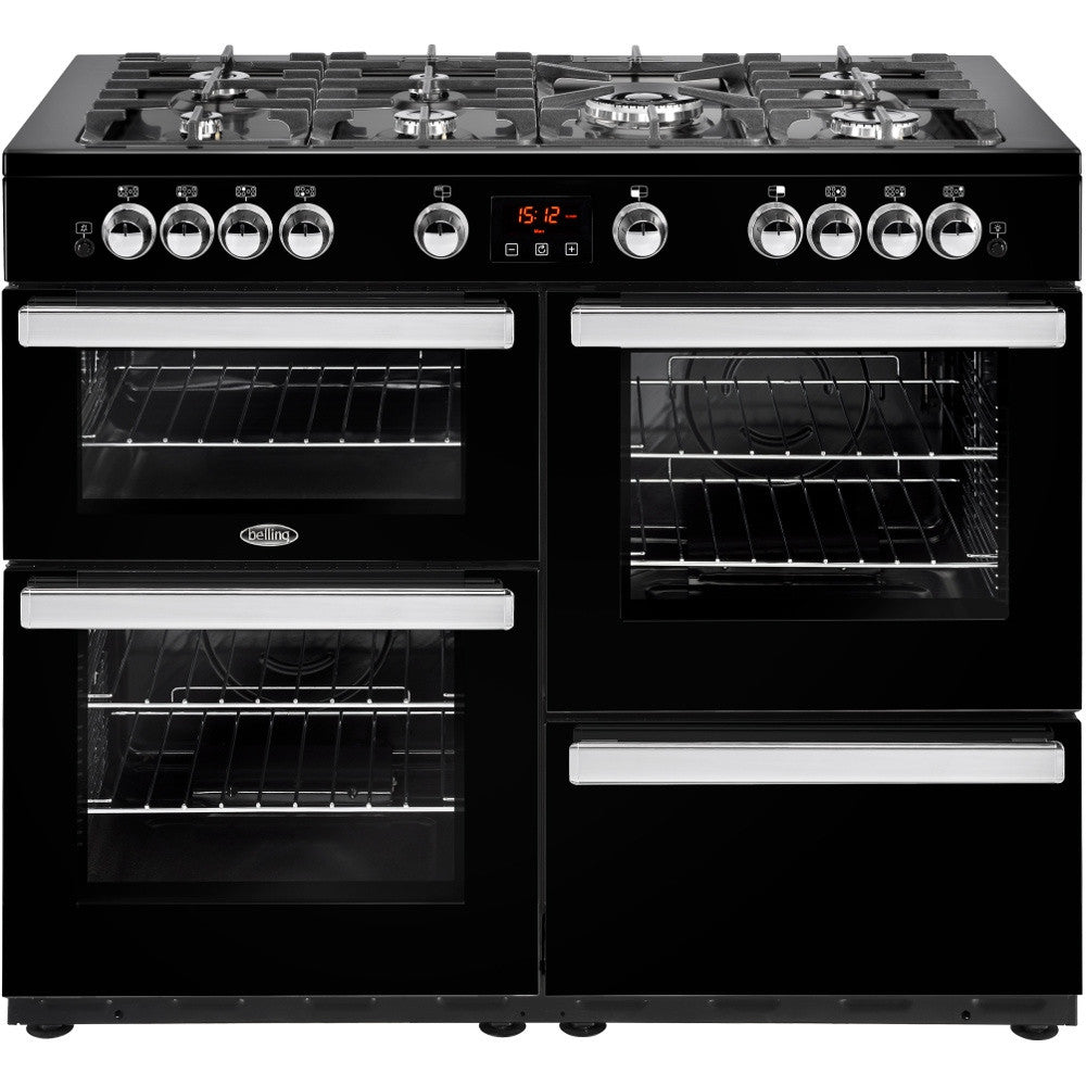 Belling Cookcentre 110G Natural Gas Range Cooker Black - Moores Appliances Ltd.