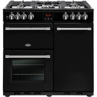 Belling Range Cooker Farmhouse 90DFT Dual Fuel Black