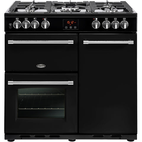Belling Farmhouse 90DFT Dual Fuel Range Cooker Black - Moores Appliances Ltd.
