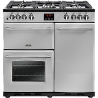 Belling Range Cooker Farmhouse 90DFT Dual Fuel Silver