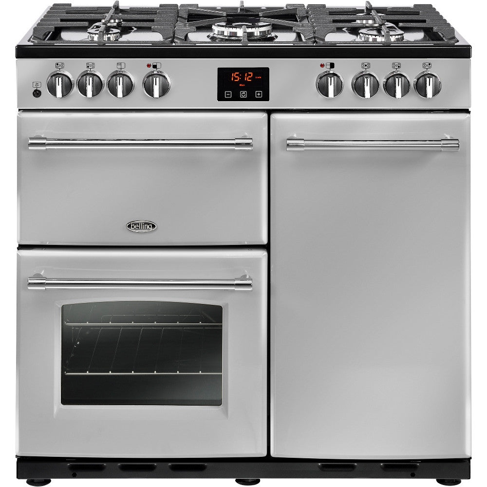 Belling Farmhouse 90DFT Dual Fuel Range Cooker Silver - Moores Appliances Ltd.