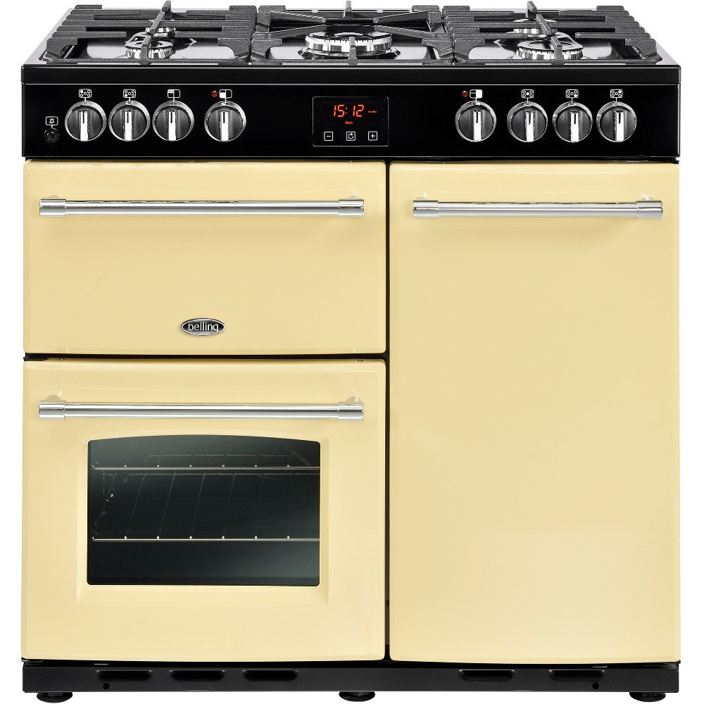 Belling Farmhouse 90DFT Dual Fuel Range Cooker Cream - Moores Appliances Ltd.
