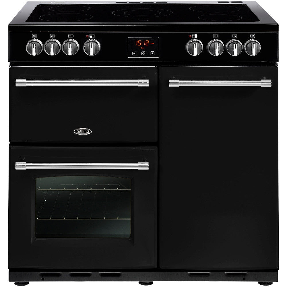 Belling Farmhouse 90E Electric Ceramic Hob Range Cooker Black - Moores Appliances Ltd.