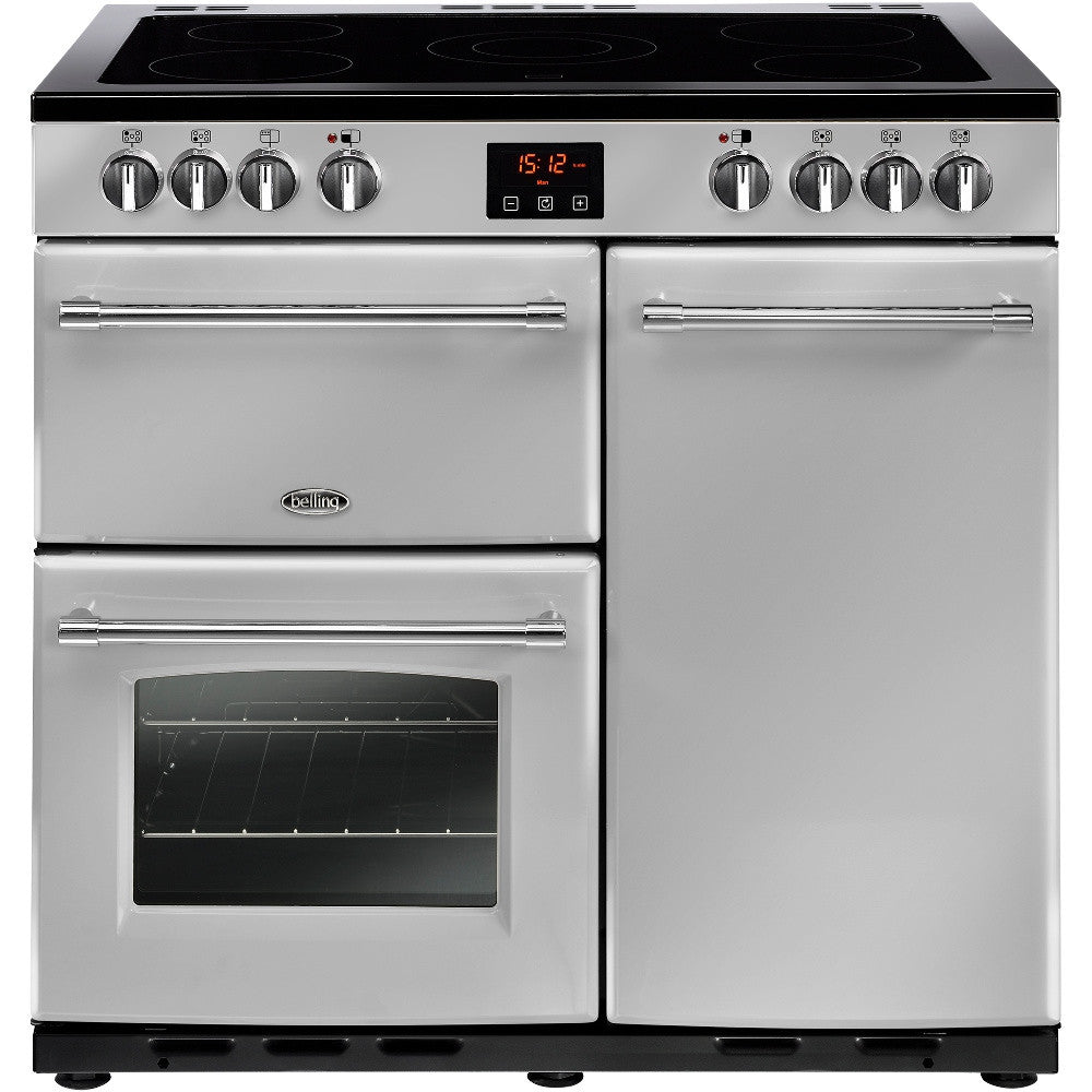 Belling Farmhouse 90E Electric Ceramic Hob Range Cooker Silver - Moores Appliances Ltd.