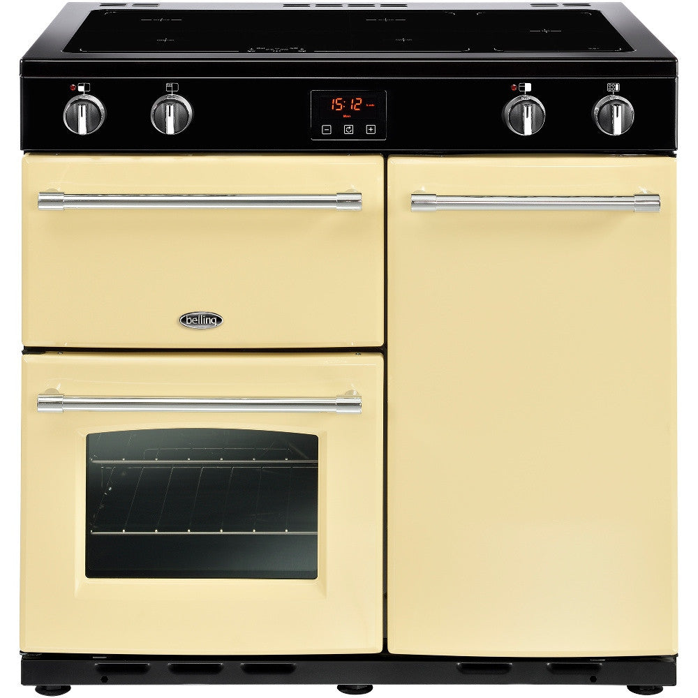 Belling Farmhouse 90Ei Electric Induction Hob Range Cooker Cream - Moores Appliances Ltd.