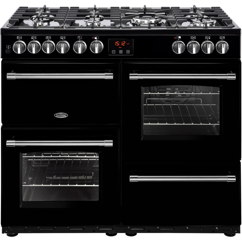 Belling Farmhouse 100DF Dual Fuel Range Cooker Black - Moores Appliances Ltd.