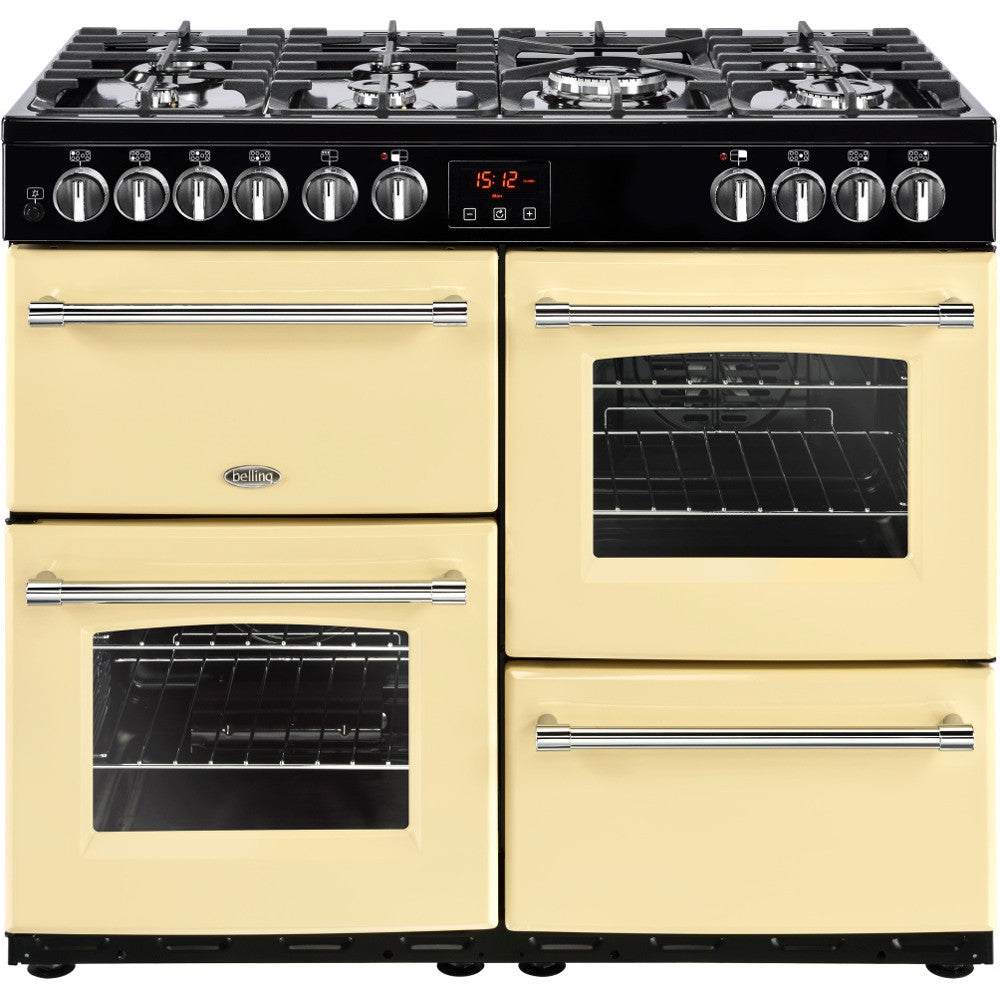 Belling Farmhouse 100DF Dual Fuel Range Cooker Cream - Moores Appliances Ltd.