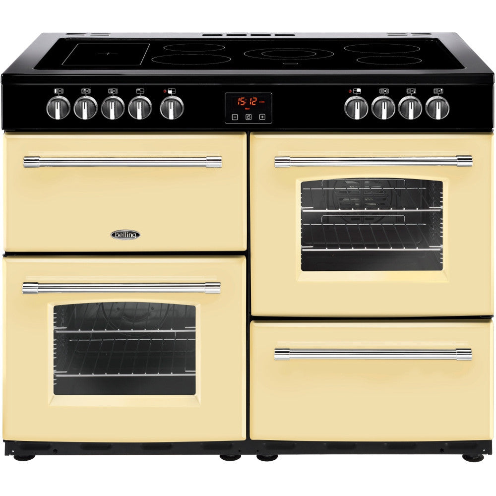 Belling Farmhouse 100E Electric Ceramic Hob Range Cooker Cream - Moores Appliances Ltd.