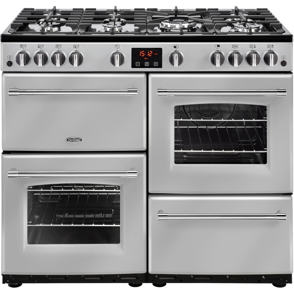 Belling Farmhouse 100G Natural Gas Range Cooker Silver - Moores Appliances Ltd.
