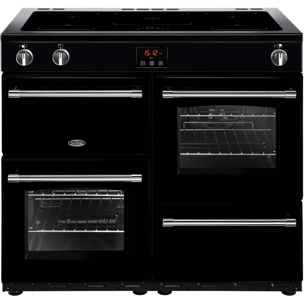 Belling Farmhouse 100Ei Electric Induction Hob Range Cooker Black - Moores Appliances Ltd.