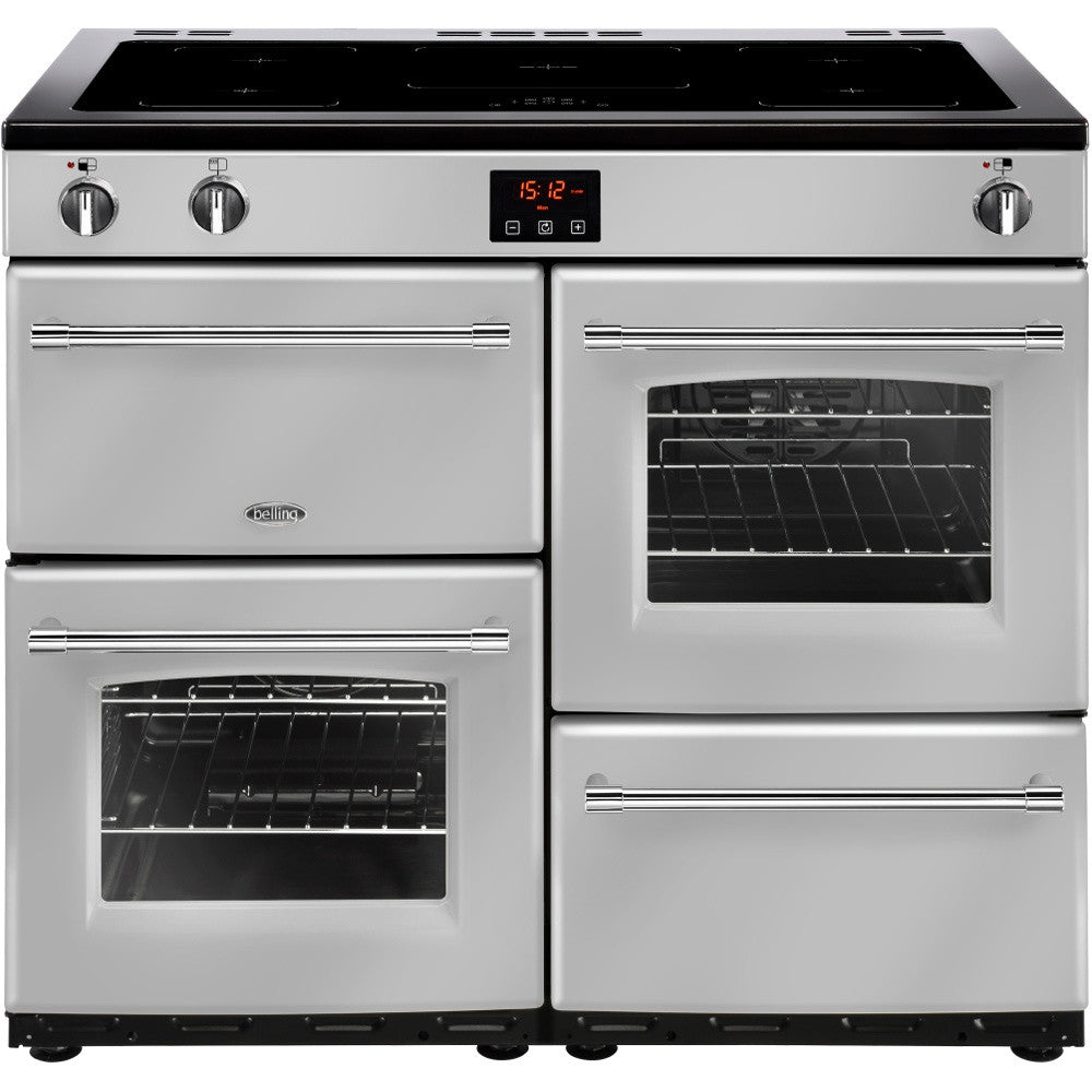 Belling Farmhouse 100Ei Electric Induction Hob Range Cooker Silver - Moores Appliances Ltd.