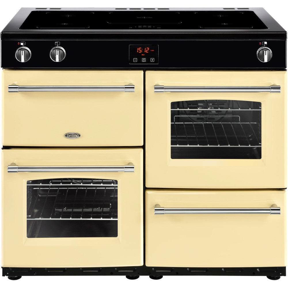 Belling Farmhouse 100Ei Electric Induction Hob Range Cooker Cream - Moores Appliances Ltd.