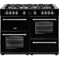 Belling Range Cooker Farmhouse 110DFT Dual Fuel Black