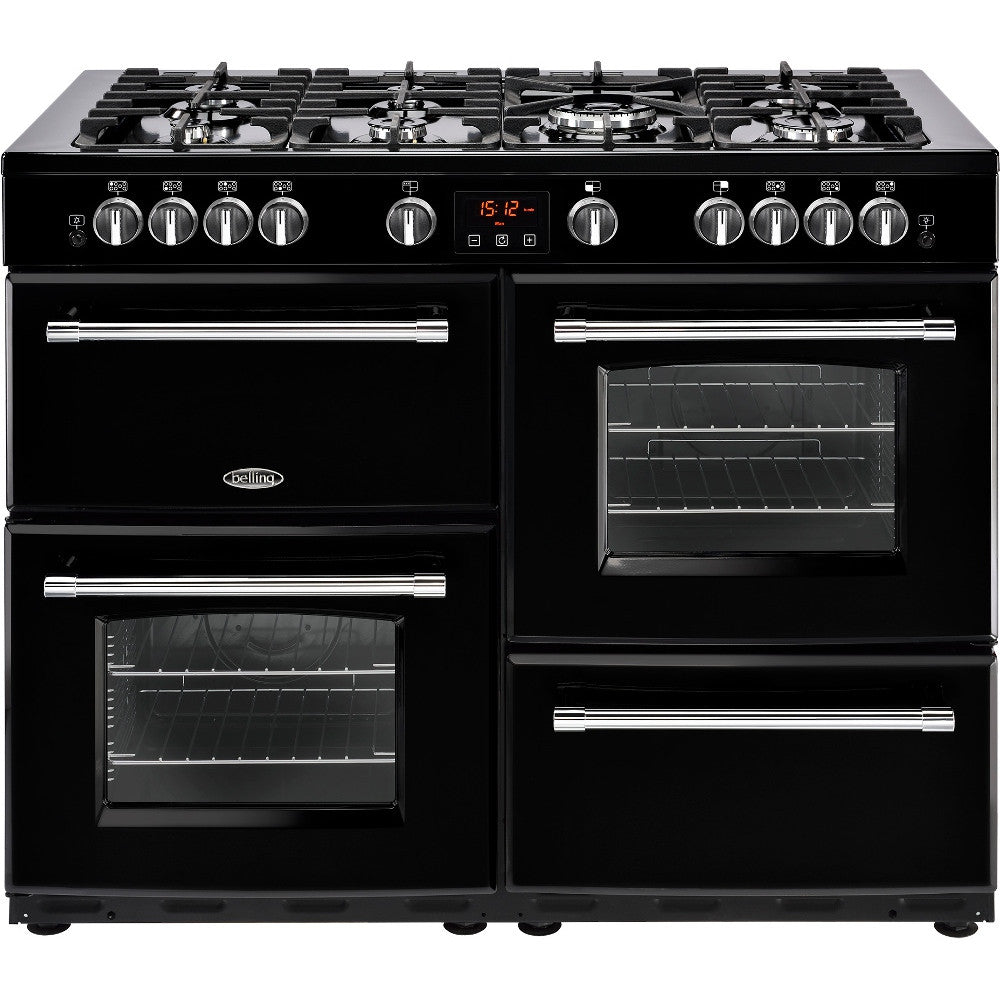 Belling Farmhouse 110DF Dual Fuel Range Cooker Black - Moores Appliances Ltd.