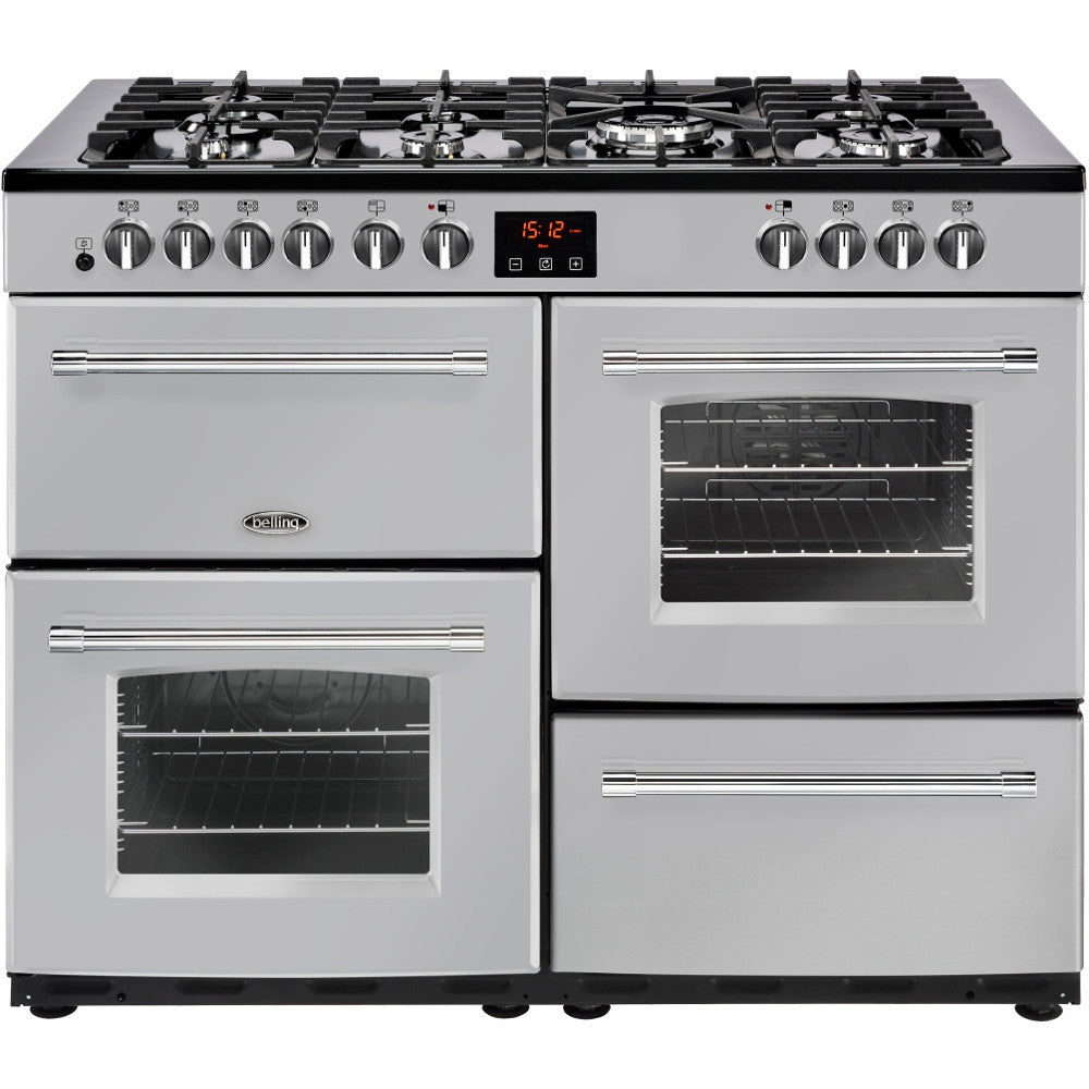 Belling Farmhouse 110DF Dual Fuel Range Cooker Silver - Moores Appliances Ltd.
