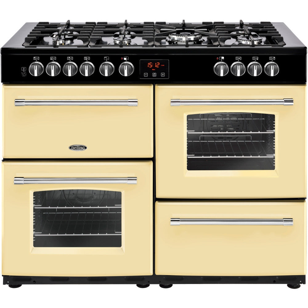 Belling Farmhouse 110DF Dual Fuel Range Cooker Cream - Moores Appliances Ltd.