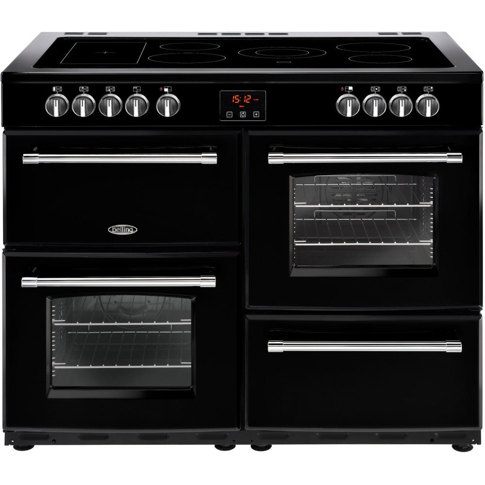 Belling Farmhouse 110E Electric Ceramic Hob Range Cooker Black - Moores Appliances Ltd.