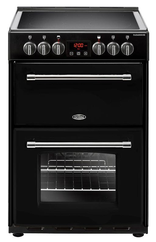 Belling Farmhouse 60E 60cm Electric Cooker with Ceramic Hob - Black