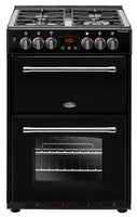 Belling Dual Fuel Cooker Farmhouse 60DF Black Double Oven 600mm Wide