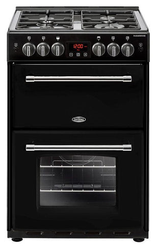 Belling Gas Cooker Farmhouse 60G Black Double Oven 600mm Wide