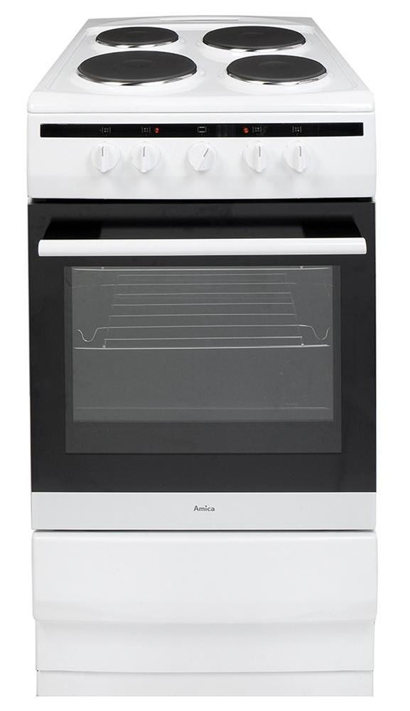 Amica 508EE1W 50cm Electric Cooker with Solid Hotplate Hob - White