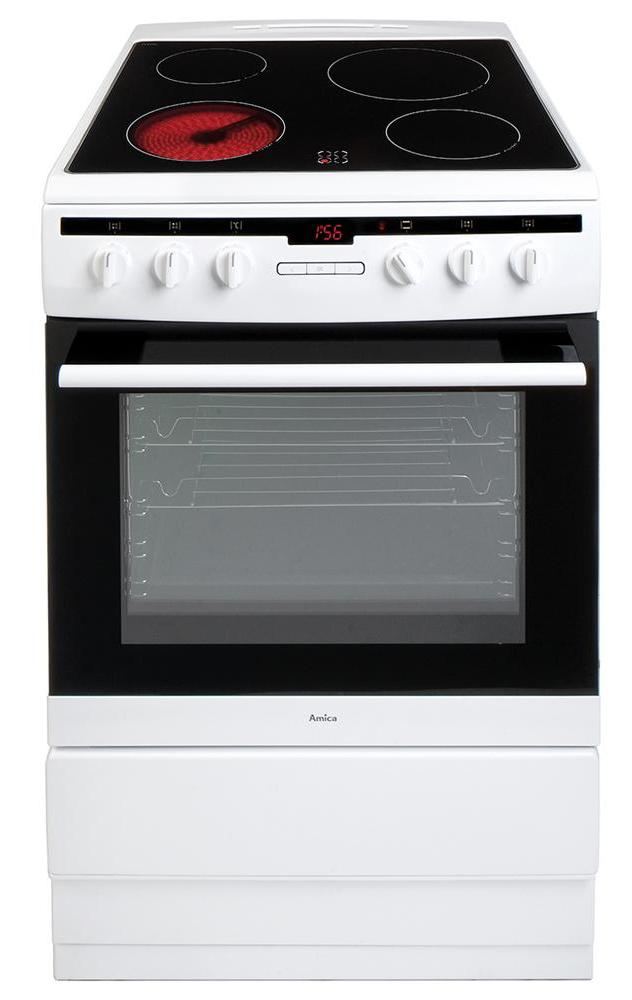 Amica 608CE2TAW 60cm Electric Cooker with Ceramic Hob - White