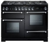 Rangemaster Kitchener KCH110DFFBL/C 110cm Dual Fuel Range Cooker - Black/Chrome Trim