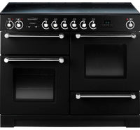 Rangemaster Kitchener KCH110ECBL/C 110cm Electric Range Cooker with Ceramic Hob - Black/Chrome Trim