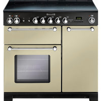 Rangemaster Kitchener KCH90ECCR/C 90cm Electric Range Cooker with Ceramic Hob - Cream/Chrome Trim
