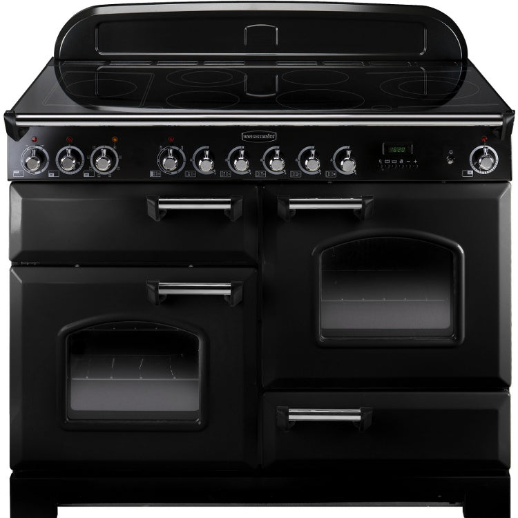 Rangemaster Classic Deluxe CDL110ECBL/C 110cm Electric Range Cooker with Ceramic Hob - Black/Chrome Trim