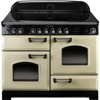 Rangemaster Classic Deluxe CDL110ECCR/C 110cm Electric Range Cooker with Ceramic Hob - Cream/Chrome Trim