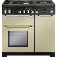 Rangemaster Kitchener KCH90DFFCR/C 90cm Dual Fuel Range Cooker - Cream/Chrome Trim