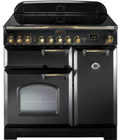 Rangemaster Classic Deluxe CDL90ECBL/B 90cm Electric Range Cooker with Ceramic Hob - Black/Brass Trim