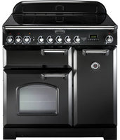 Rangemaster Classic Deluxe CDL90ECBL/C 90cm Electric Range Cooker with Ceramic Hob - Black/Chrome Trim
