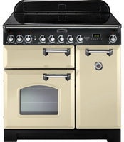 Rangemaster Classic Deluxe CDL90ECCR/C 90cm Electric Range Cooker with Ceramic Hob - Cream/Chrome Trim
