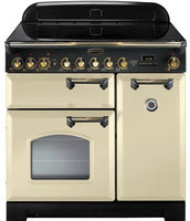 Rangemaster Classic Deluxe CDL90ECCR/B 90cm Electric Range Cooker with Ceramic Hob - Cream/Brass Trim