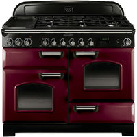 Rangemaster Classic Deluxe CDL110DFFCY/C 110cm Dual Fuel Range Cooker - Cranberry/Chrome Trim