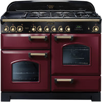 Rangemaster Classic Deluxe CDL110DFFCY/B 110cm Dual Fuel Range Cooker - Cranberry/Brass Trim