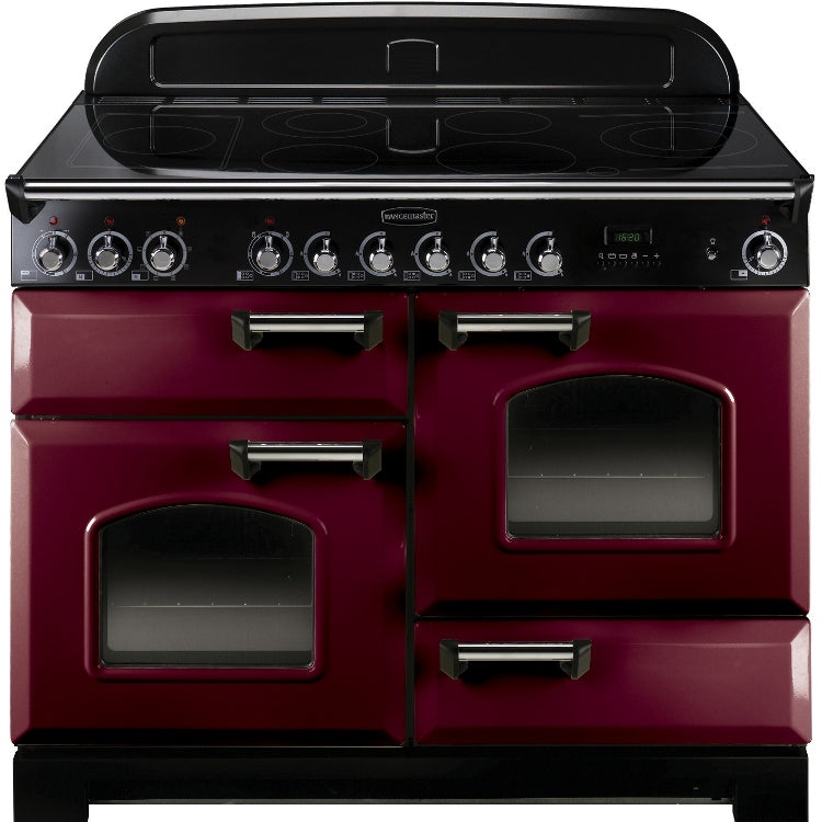 Rangemaster Classic Deluxe CDL110ECCY/C 110cm Electric Range Cooker with Ceramic Hob - Cranberry/Chrome Trim