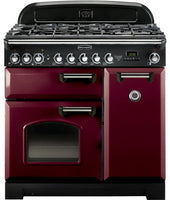 Rangemaster Classic Deluxe CDL90DFFCY/C 90cm Dual Fuel Range Cooker - Cranberry/Chrome Trim