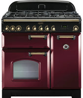 Rangemaster Classic Deluxe CDL90DFFCY/B 90cm Dual Fuel Range Cooker - Cranberry/Brass Trim
